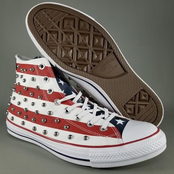 Converse CTAS Hi USA Flag Studded Shoes 10.5 White 4ada6881b